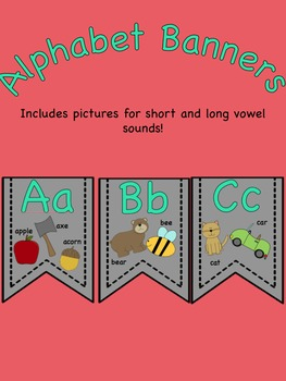 Grey and Mint Alphabet Banners