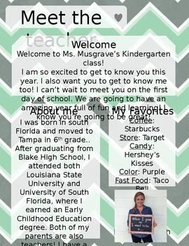 Grey and Mint Chevron Meet The Teacher Template **Editable**