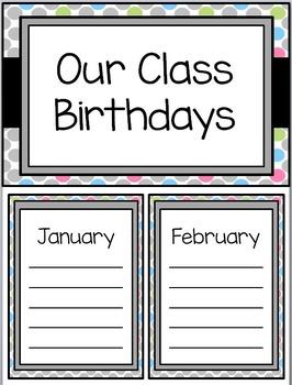 Grey and Pastel Polka Dot Classroom Theme with Editable File