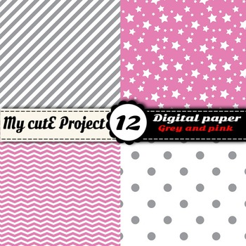 """Grey and Pink - DIGITAL PAPER - Scrapbooking- A4 & 12x12"""" - Stripes, stars..."""