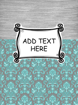 Grey and Teal Binder Covers Editable