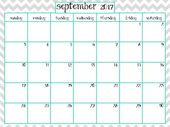 Grey and Teal Chevron 2017-2018 Calendar