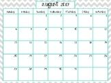 Grey and Teal Chevron 2017-2018 Calendar