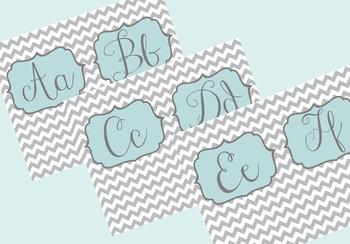 Grey and Teal Chevron Alphabet Letters, Cursive Font