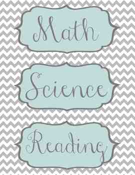 Grey and Teal Chevron Subject and Objective Labels