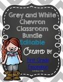 Grey and White Chalkboard and Chevron Classroom Bundle