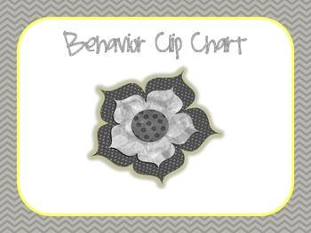 Grey and Yellow Chevron Behavior Clip Chart