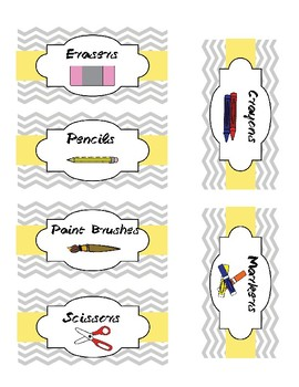 Grey and Yellow Chevron Classroom Supply Labels