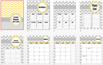 Grey and Yellow Chevron Lesson Plan Book 2017-2018