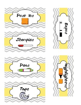 Grey and Yellow Chevron Teacher Toolbox Labels