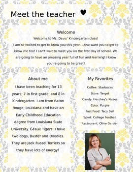 Grey and Yellow Damask Meet The Teacher Template **Editable**