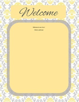 Grey and Yellow Damask Welcome Letter Template