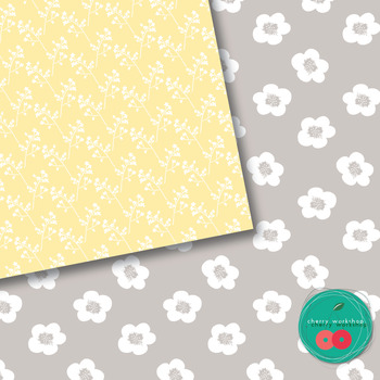 Grey and Yellow Digital Paper Pack