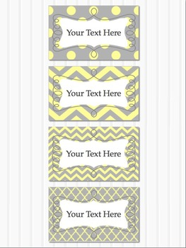 Grey and Yellow Editable Blank Multipurpose Classroom 5x3 Labels