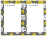 Grey and Yellow Flower Notes 2 per page-Word Document