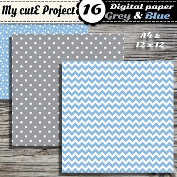 Grey and baby blue - DIGITAL PAPER - Scrapbooking -Stripes, stars, polka dots...