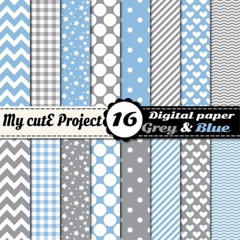 Grey and baby blue - DIGITAL PAPER - Scrapbooking -Stripes, stars, polka dots...