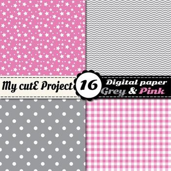 "Grey and pink DIGITAL PAPER - Scrapbooking- A4 & 12x12"" - Stripes, dots..."