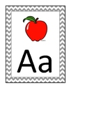 Grey chevron alphabet cards