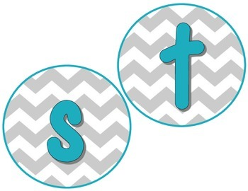 Grey chevron and aqua word wall header