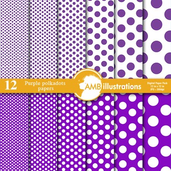 Digital Papers - Purple colored dot papers and backgrounds, AMB-578