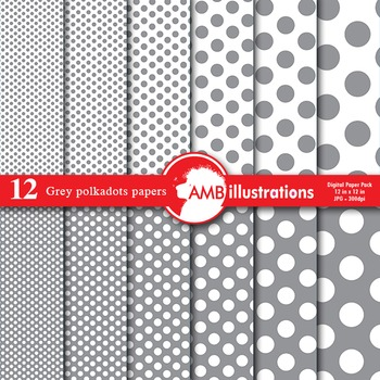 Digital Papers - Grey colored Dot papers and backgrounds, AMB-582