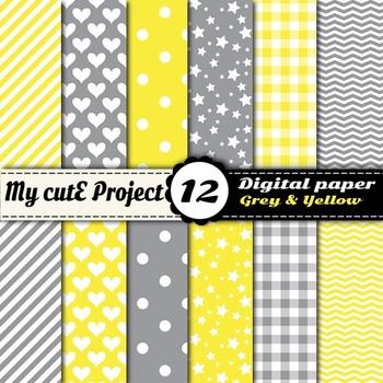 "Grey & yellow - DIGITAL PAPER - Scrapbooking-A4 & 12x12""- stripes, polka dots..."