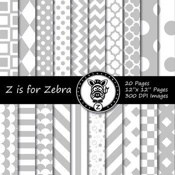 Grey/white dual tone Digital Paper Pack - CU ok { ZisforZebra}