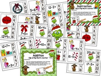 Grinchy Christmas Place Value, Addition/Subtraction Clip & Flip Math Centers