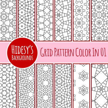 Grid Based Adult Level Color In Backgrounds / Digital papers Clip Art Set