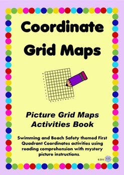 Grid Coordinate Maps Activity & Mystery Pictures, 1st Quadrant - Swimming Focus