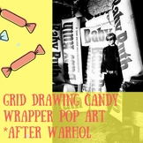 Grid Drawing Candy Wrappers, after Warhol w/ Wrappers & Rubric