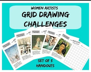 Grid Drawing Challenge - Women Artists Art Worksheets - Set of 5 Handouts
