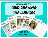 Grid Drawing Challenge - Women Artists Art Worksheets - Set of 5 Handouts