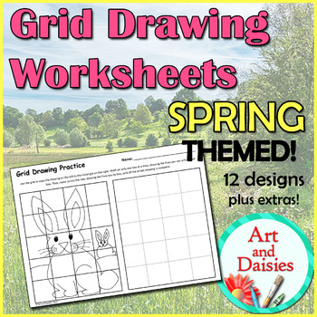 Grid Drawing Worksheets - 12 Unique, SPRING-THEMED Designs