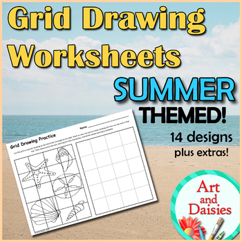 Grid Drawing Worksheets - 14 Unique, SUMMER-THEMED Designs