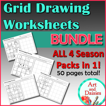 Grid Drawing Worksheets BUNDLE - All 4 Seasons, Holidays, 50 pages total!