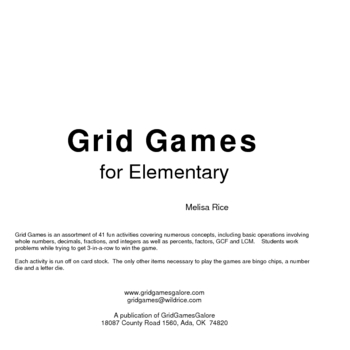 Grid Games for Elementary Math