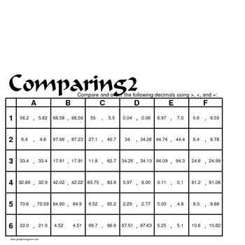 Grid Games for Elementary Math - Decimals