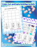Grid Map Practice Worksheet Activity Valentine's Day  Color and Paste