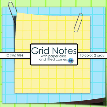 """Notes Clip Art:  """"Sticky Notes"""": Grid"""