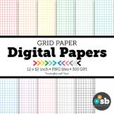 Grid Paper Digital Paper Backgrounds Clipart // Grid Paper in 12 Colors
