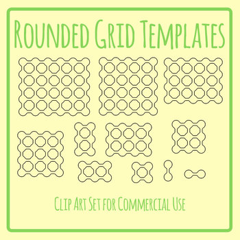 Grid Templates - Organic Rounded Linked Circle Blank Templates Clip Art