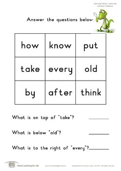 Grid Word Positions (1st Grade)