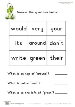 Grid Word Positions (2nd Grade)