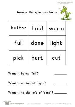 Grid Word Positions (3rd Grade)