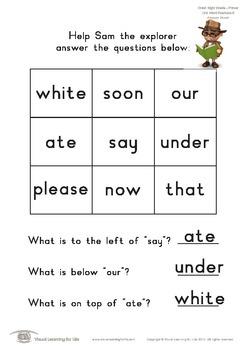 Grid Word Positions (Kindergarten)