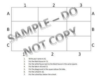 Grid Worksheet Elementary - Great for social studies and following directions!