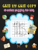 Grid by grid Copy Drawing Puzzles for Kids