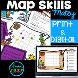 Map Skills Bundle Digital & Print - Grid Maps, Latitude Longitude Distance Learn